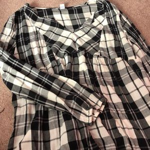Black and white buffalo plaid baby doll top